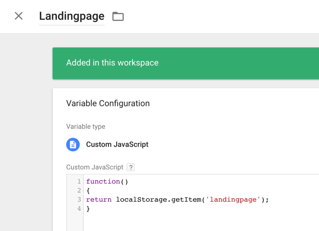 Javascript Variable for LandingPage