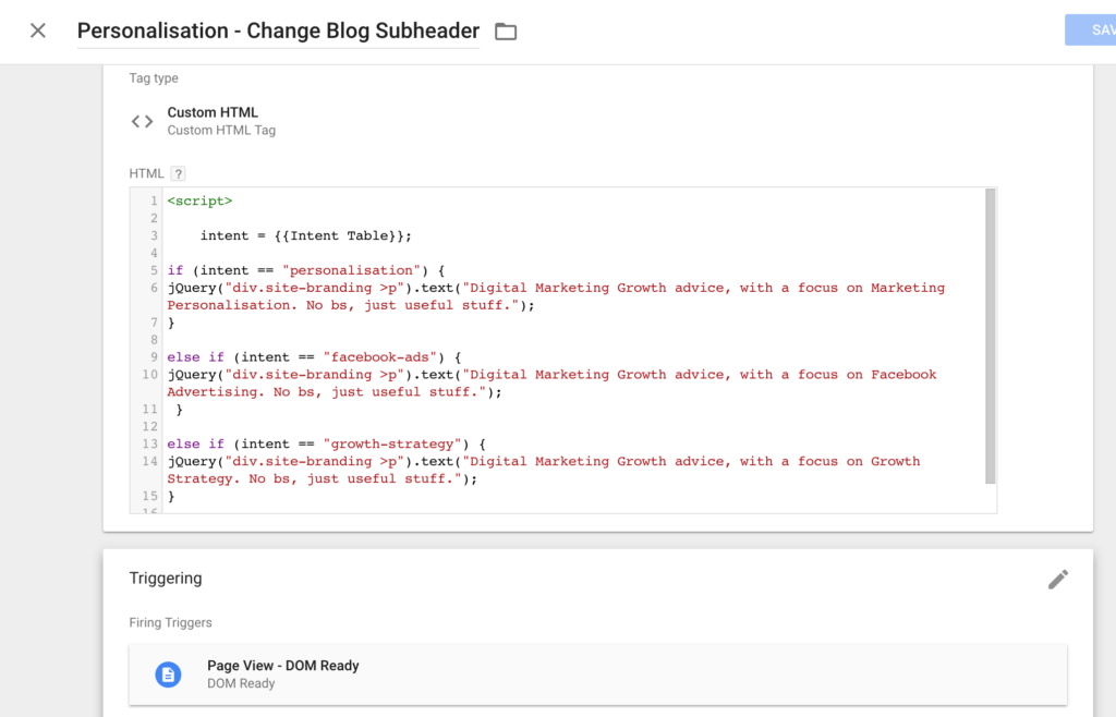 Change Blog Subheader in Tag Manager